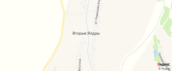 Улица Ундрицова Ахаха на карте деревни Вторые Ялдры с номерами домов