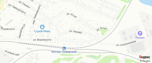 Улица Чехова на карте Котласа с номерами домов