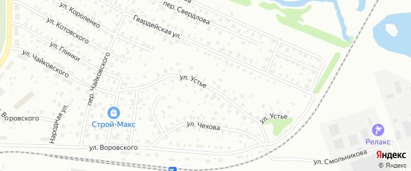 Улица Устье на карте Котласа с номерами домов