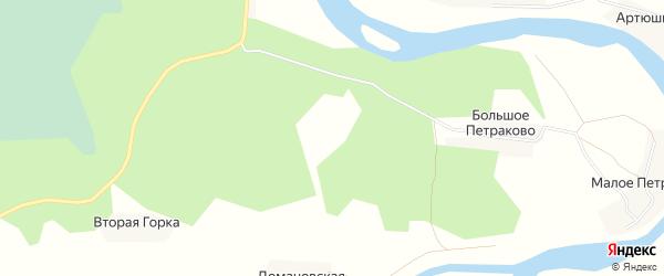 Карта деревни Второй Горки в Архангельской области с улицами и номерами домов