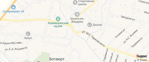 Улица Шавхала Солтамута Тарковского на карте села Ботаюрта с номерами домов