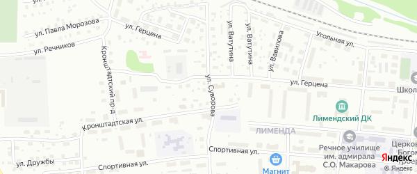Улица Суворова на карте Котласа с номерами домов