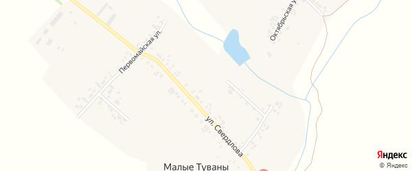 Томкинская улица на карте деревни Малые Туваны с номерами домов