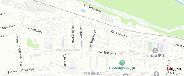 Улица Вавилова на карте Котласа с номерами домов