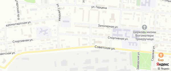 Спортивная улица на карте Котласа с номерами домов