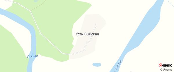 Карта Усть-Выйской деревни в Архангельской области с улицами и номерами домов