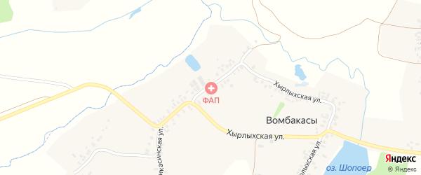 Шоркасинская улица на карте деревни Вомбакасы с номерами домов