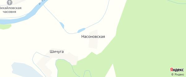 Карта Насоновской деревни в Архангельской области с улицами и номерами домов