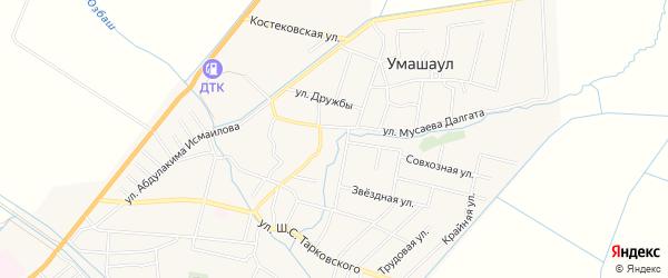 Карта села Умашаула в Дагестане с улицами и номерами домов