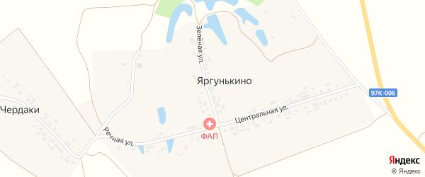 Зеленая улица на карте деревни Яргунькино с номерами домов
