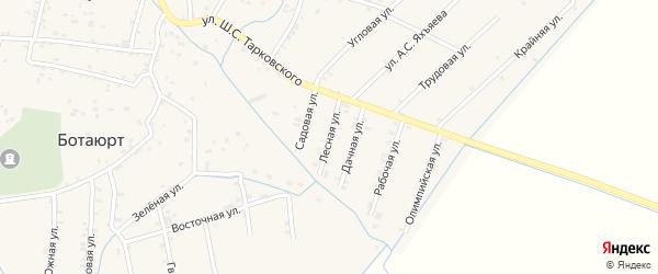 Лесная улица на карте села Ботаюрта с номерами домов