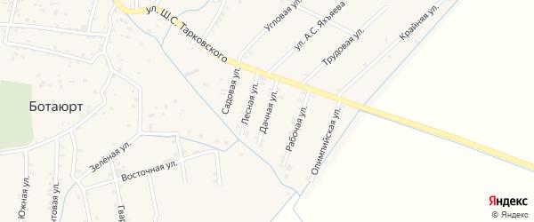 Дачная улица на карте села Ботаюрта с номерами домов