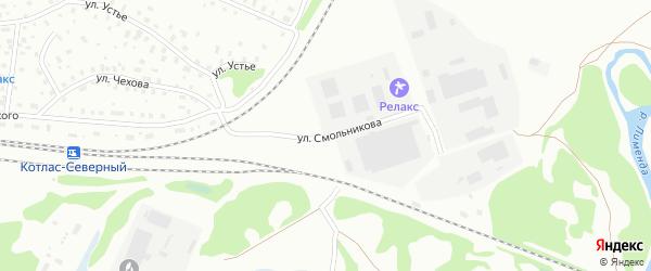 Улица Смольникова на карте Котласа с номерами домов