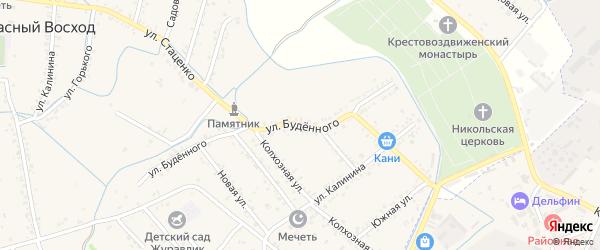 Улица Буденого на карте поселка им Жданова с номерами домов