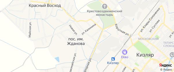 Карта поселка им Жданова в Дагестане с улицами и номерами домов