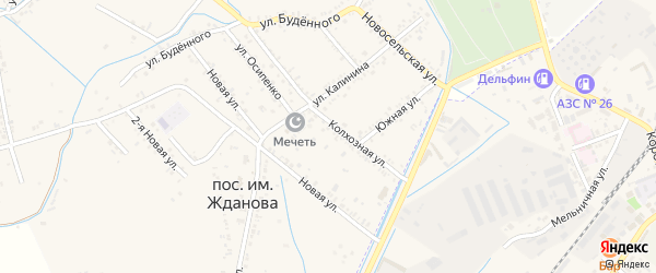 Улица Орджоникидзе на карте поселка им Жданова с номерами домов