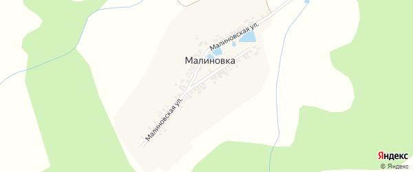 Малиновская улица на карте деревни Малиновки с номерами домов