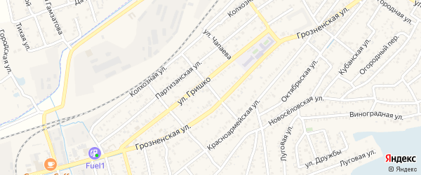 Улица Фурманова на карте Кизляра с номерами домов