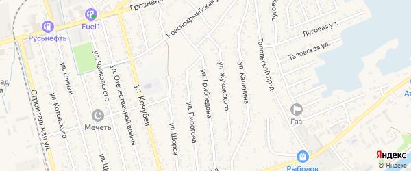Улица Грибоедова на карте Кизляра с номерами домов