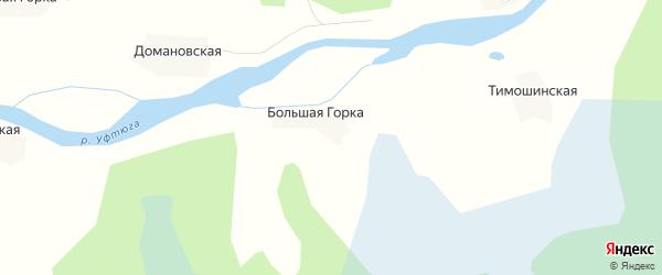 Карта деревни Большей Горки в Архангельской области с улицами и номерами домов