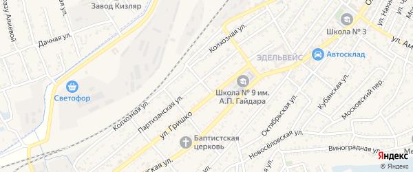 Улица Чапаева на карте Кизляра с номерами домов
