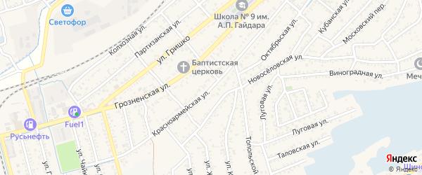 Красноармейская улица на карте Кизляра с номерами домов