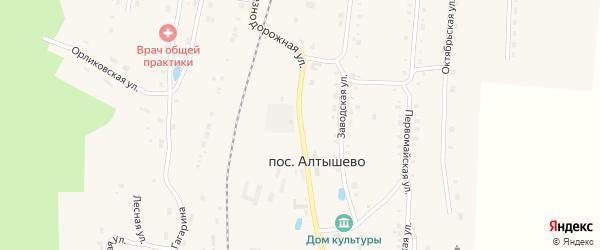Железнодорожная улица на карте поселка Алтышево с номерами домов