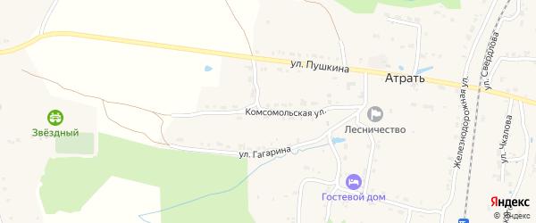 Комсомольская улица на карте поселка Атрать с номерами домов