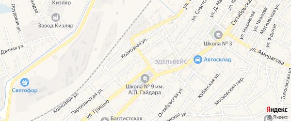 Железнодорожная улица на карте Кизляра с номерами домов