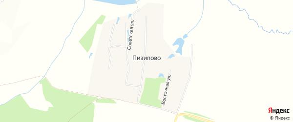 Карта деревни Пизипово в Чувашии с улицами и номерами домов