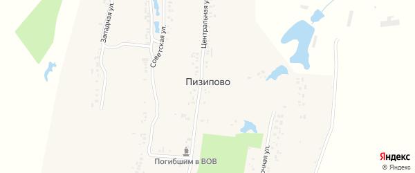 Заподная улица на карте деревни Пизипово с номерами домов