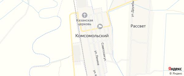 Карта Комсомольского поселка города Кизляра в Дагестане с улицами и номерами домов