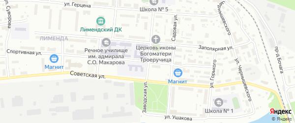 Заводская улица на карте Котласа с номерами домов