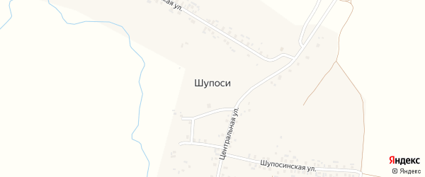 Центральная улица на карте деревни Шупоси (Большесундырское с/п) с номерами домов