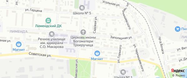 Садовая улица на карте Вычегодского поселка с номерами домов