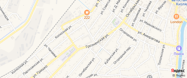 Комсомольская улица на карте Кизляра с номерами домов