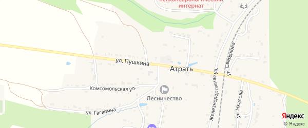 Улица Пушкина на карте поселка Атрать с номерами домов