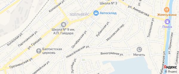 Кубанский переулок на карте Кизляра с номерами домов