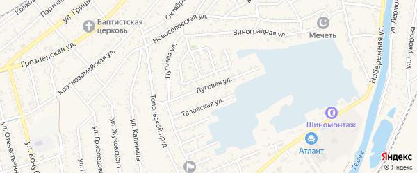 Луговая улица на карте Кизляра с номерами домов