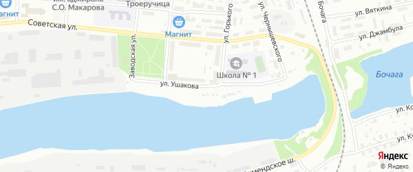 Улица Ушакова на карте Котласа с номерами домов