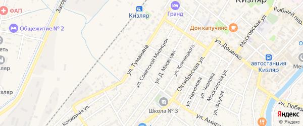 Улица Советской Милиции на карте Кизляра с номерами домов