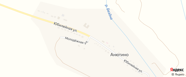Юбилейная улица на карте поселка Анютина с номерами домов