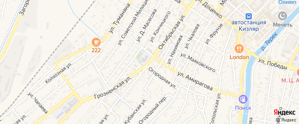 Октябрьская улица на карте Кизляра с номерами домов