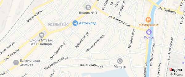Огородный переулок на карте Кизляра с номерами домов