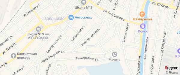 Московский переулок на карте Кизляра с номерами домов