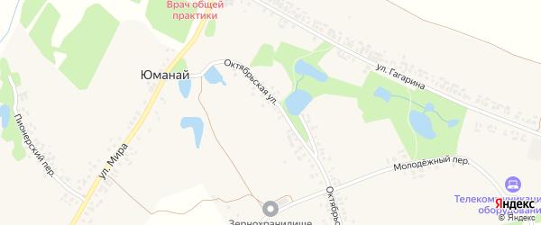 Октябрьская улица на карте села Юманая с номерами домов