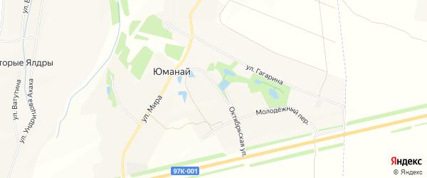 Карта села Юманая в Чувашии с улицами и номерами домов