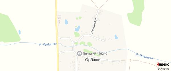 Нагорная улица на карте деревни Орбаши с номерами домов