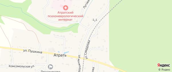 Железнодорожная улица на карте поселка Атрать с номерами домов