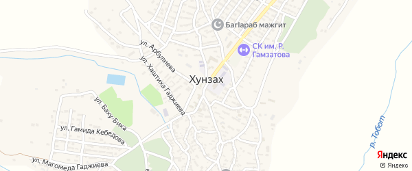 Улица Хизроева на карте села Хунзаха с номерами домов